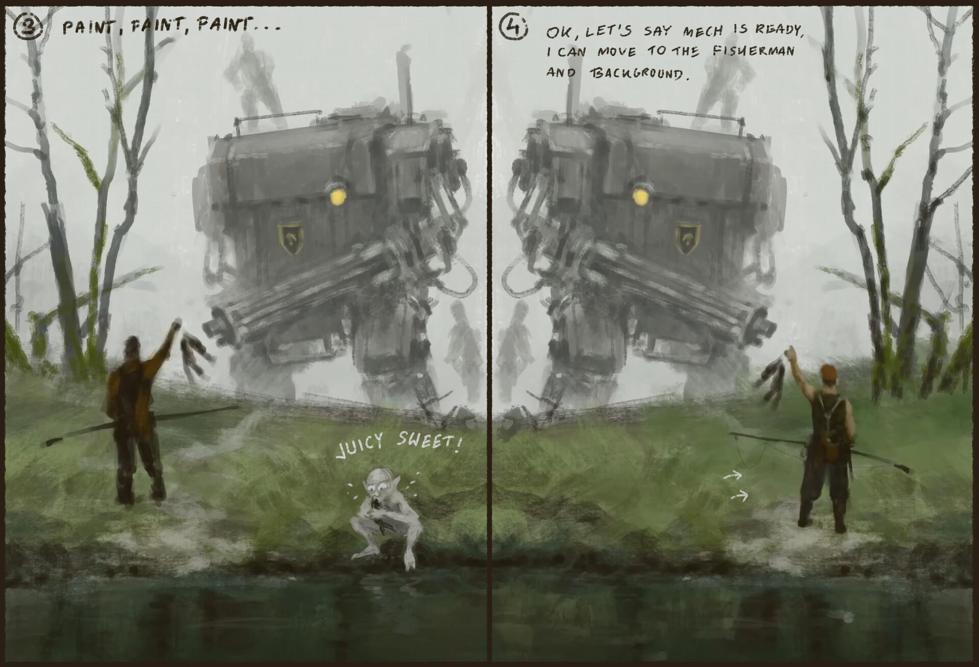 Jakub rozalski 1920 fisherman process2