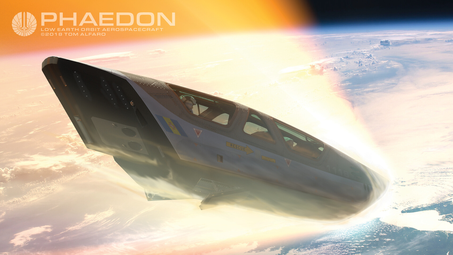 Phaedon crew escape module entering the upper atmosphere at very high speed.  Lower surface of the escape module protects crew from ballistic hazards (exploding main fuselage) as well as high temperatures and pressures of atmospheric reentry.