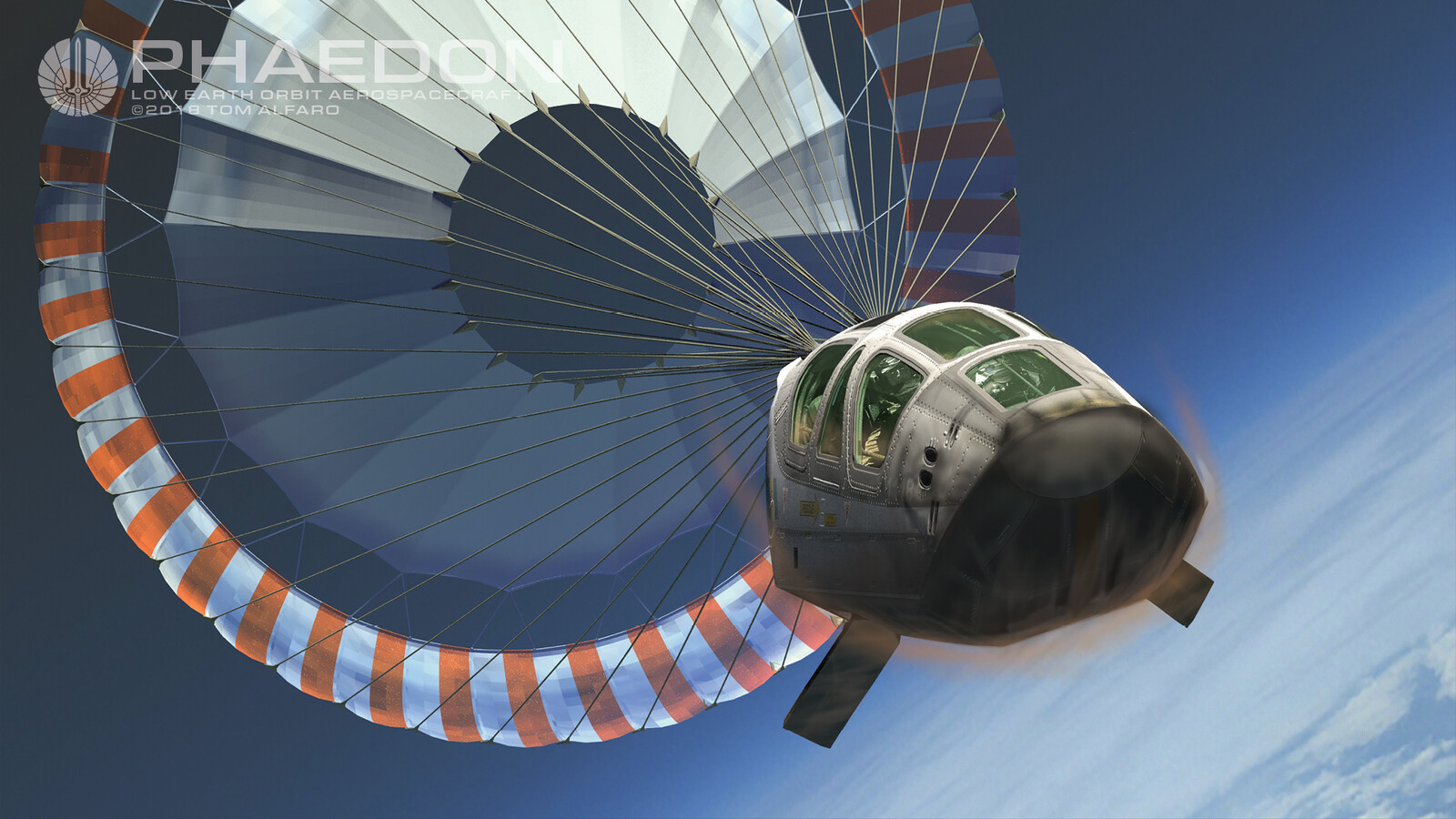 Crew escape module high altitude deceleration parachute deploys.