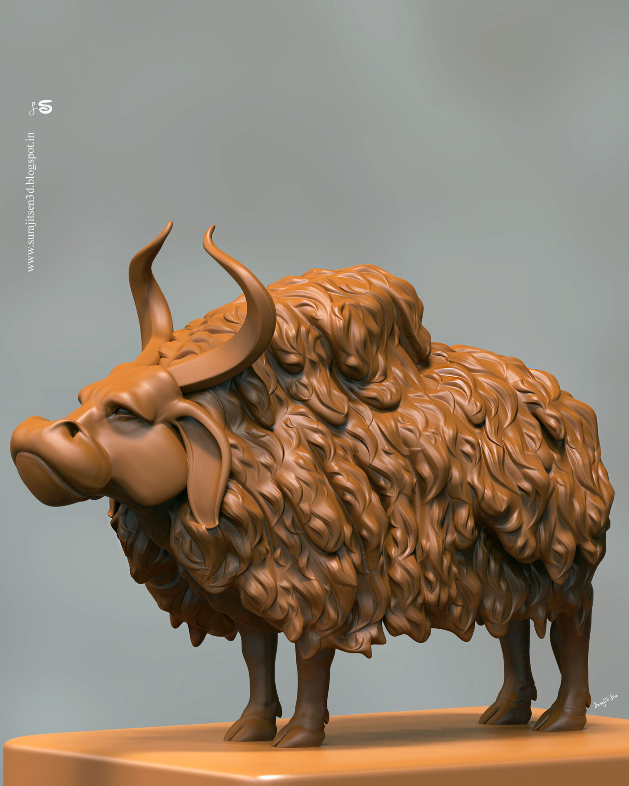 """Wish to share ....updated snap of my Digital Sculpt study. ....""""Ancient Bull"""". Tried to make a form of my thoughts  :)"""