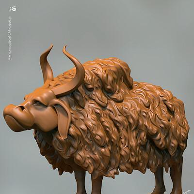 Surajit sen ancient bull wipy digital sculpt surajitsen march2019