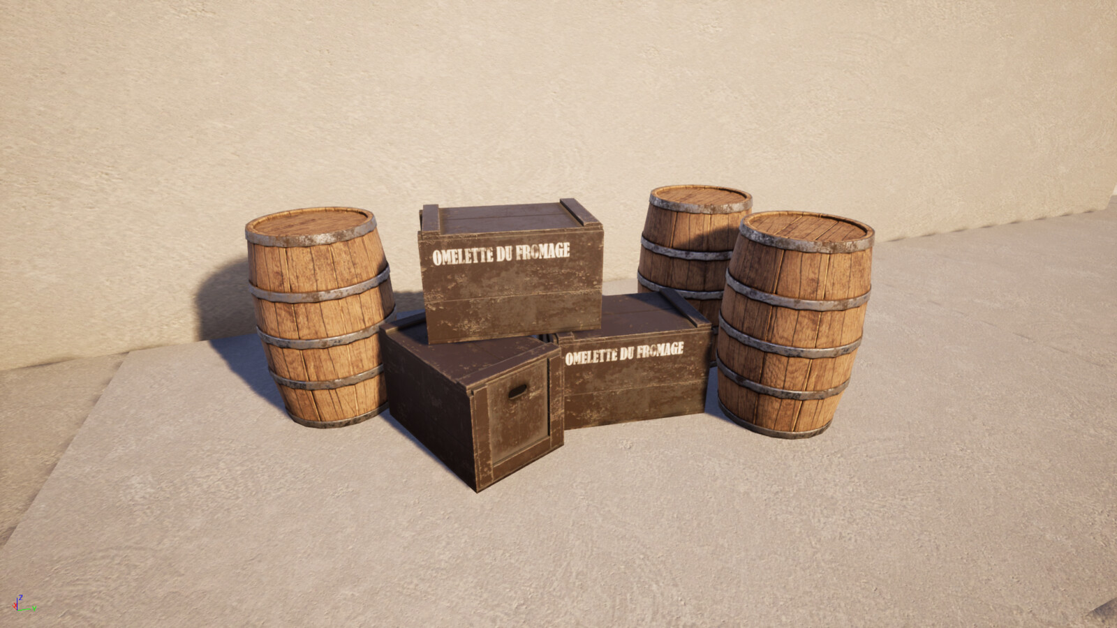 The barrel is a object i made from model to texture,