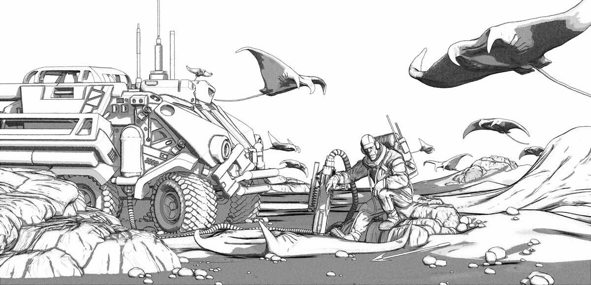Hunter of the flying stingrays - Linework (ZBrush render)