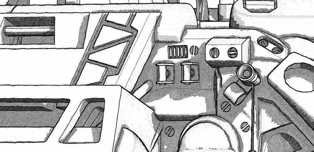Hunter of the flying stingrays - Linework closeup 02