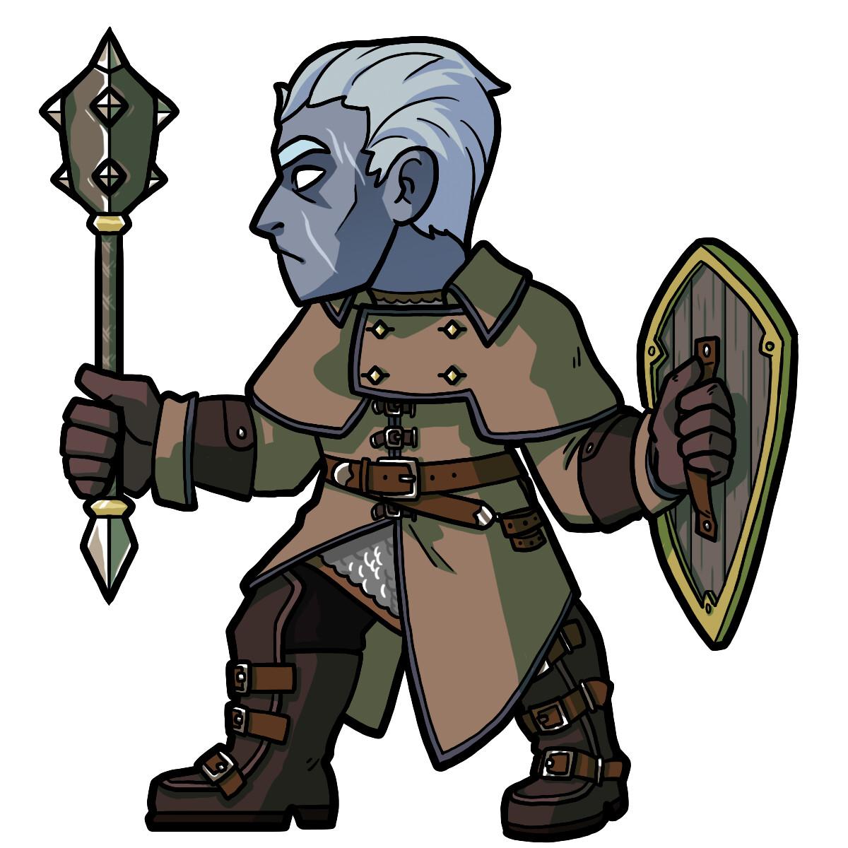 Il Thomanniz, a fallen aasimar paladin (Vengeance).