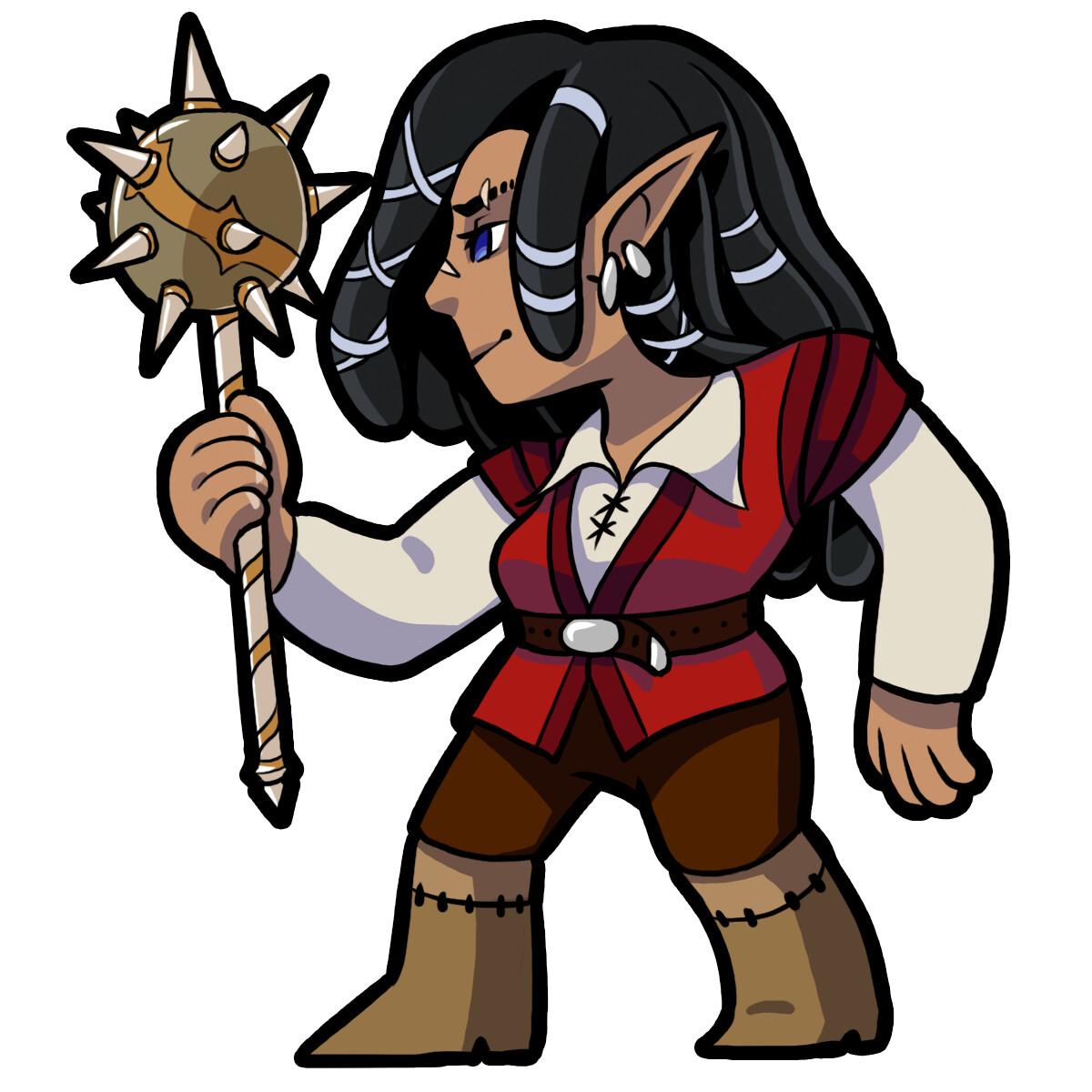 Jan, an elf barbarian.