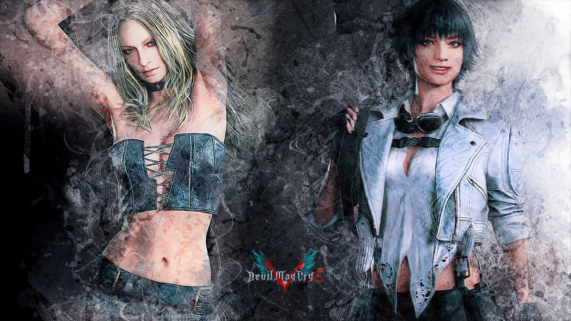 Artstation Devil May Cry 5 Trish And Lady In Brush Ink Filter