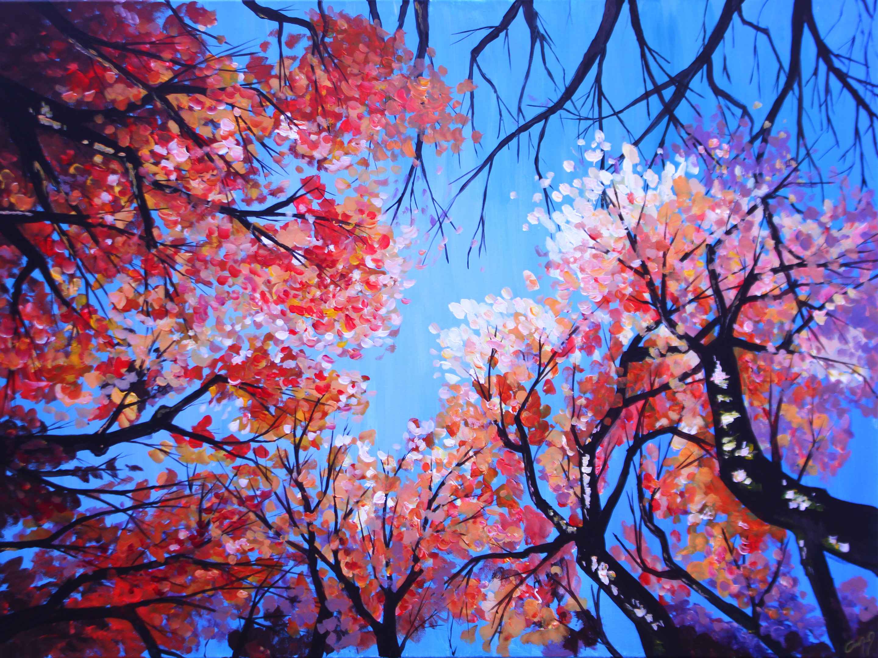 Commissioned acrylic painting of trees in the fall.