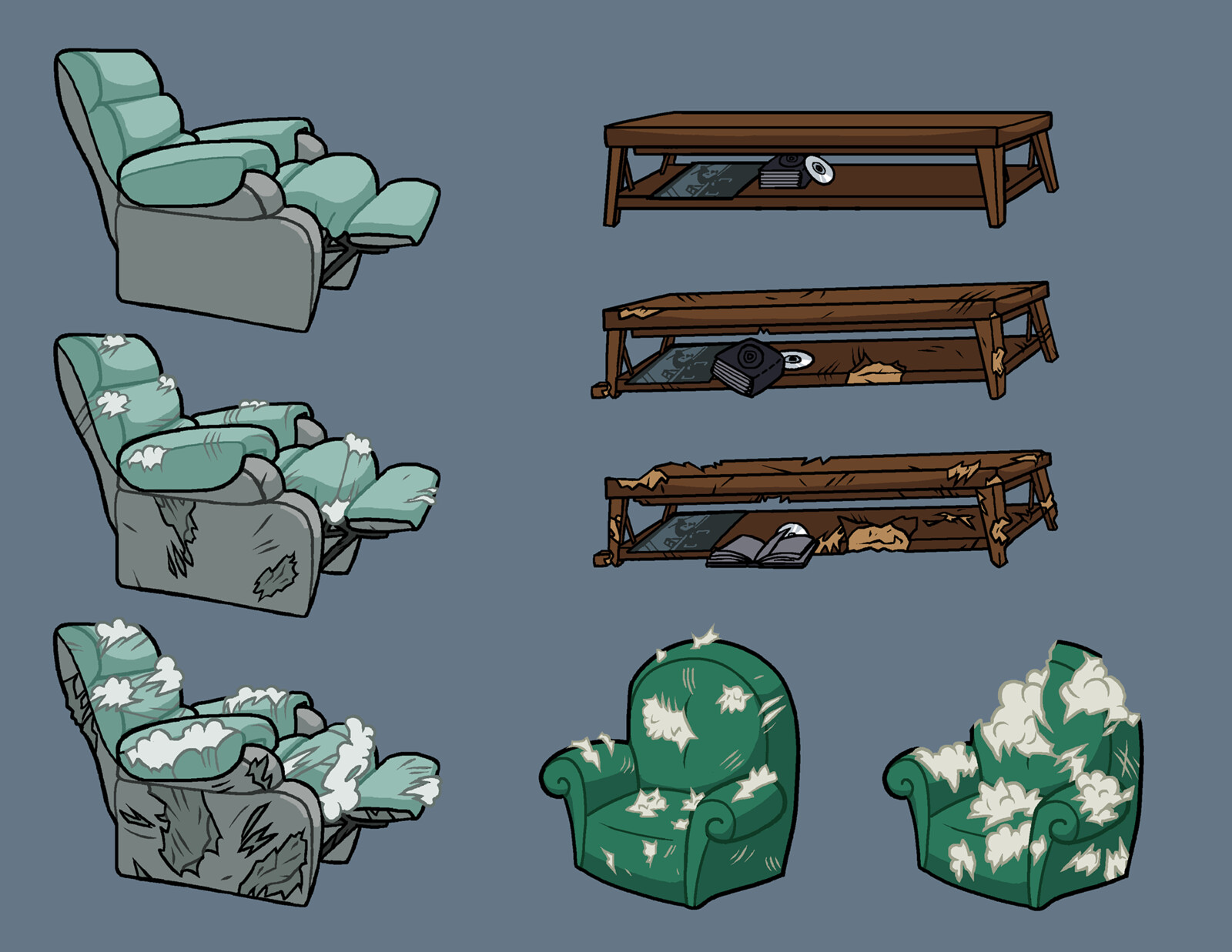 Objects and their stages of destruction