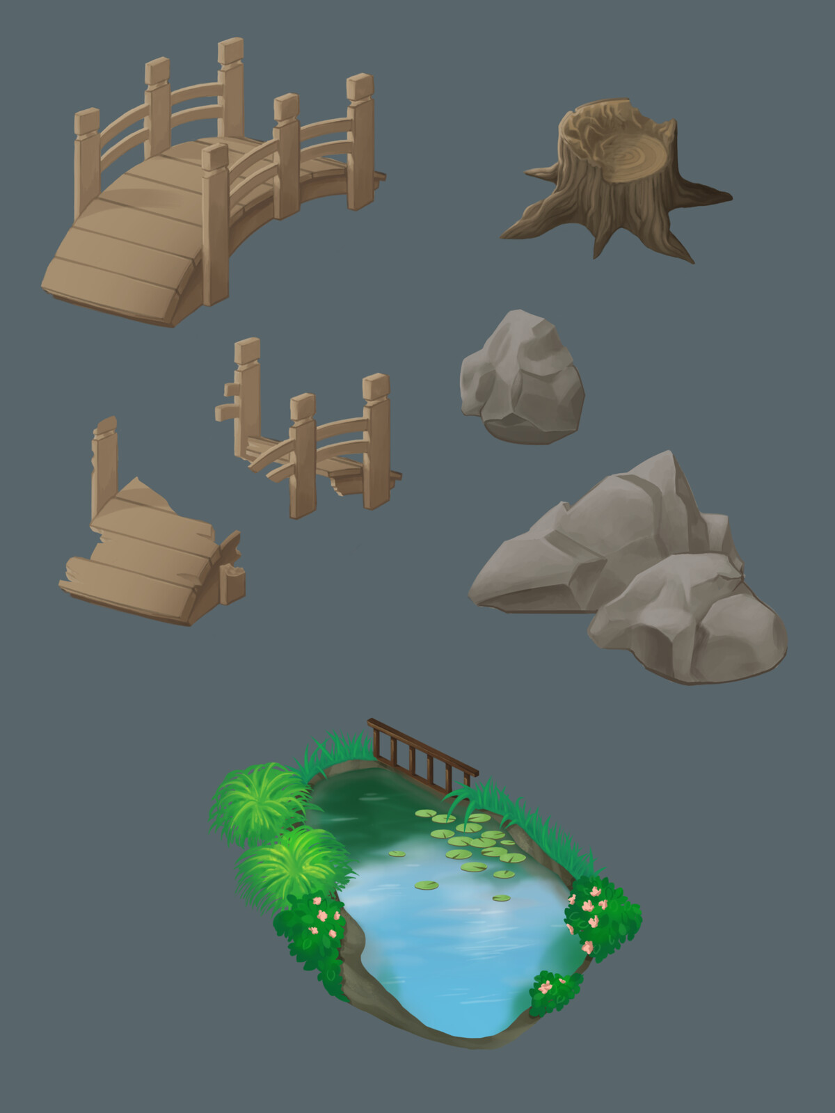 Painted environmental props