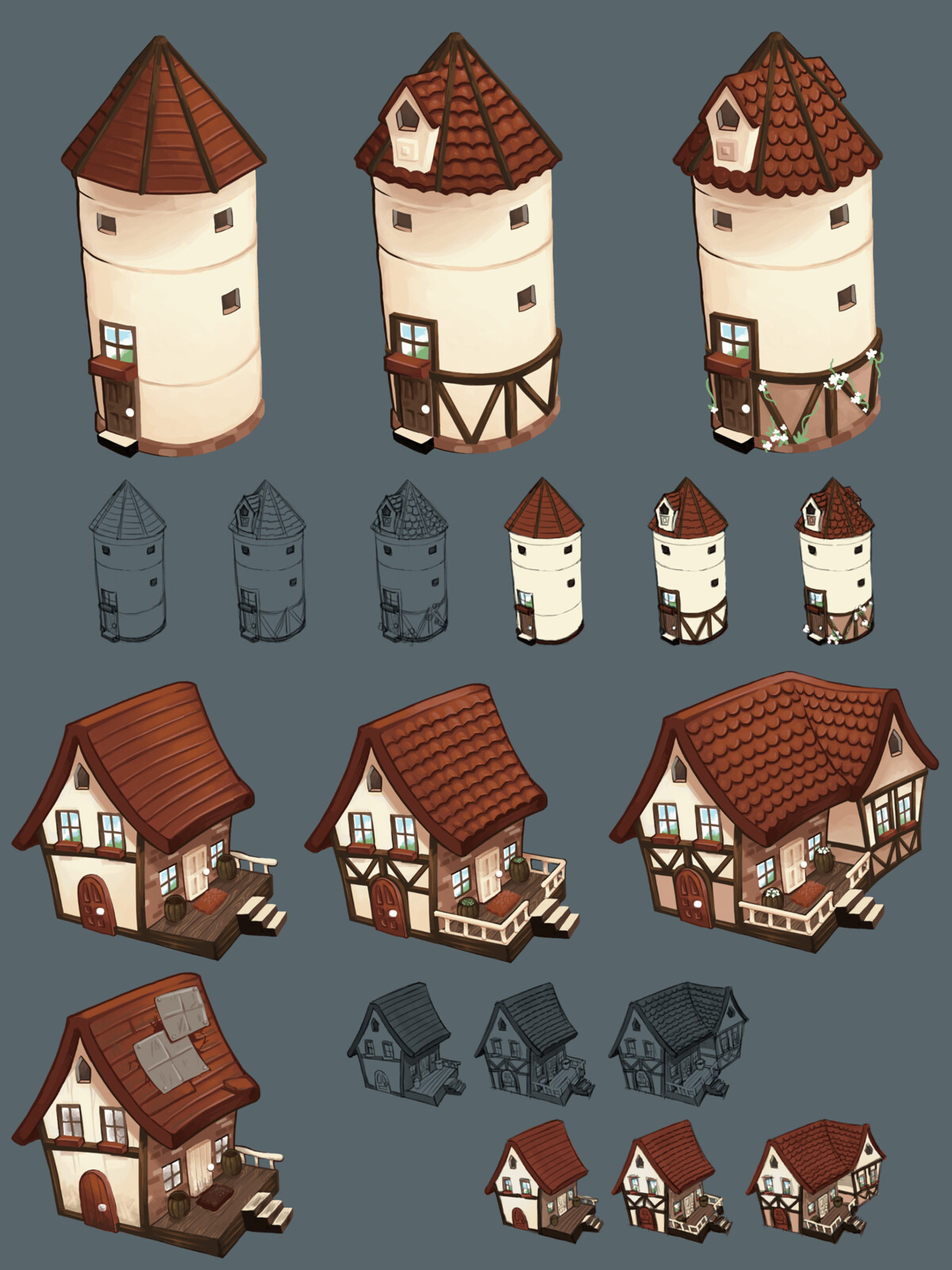 Farmer's silo and house + upgrades