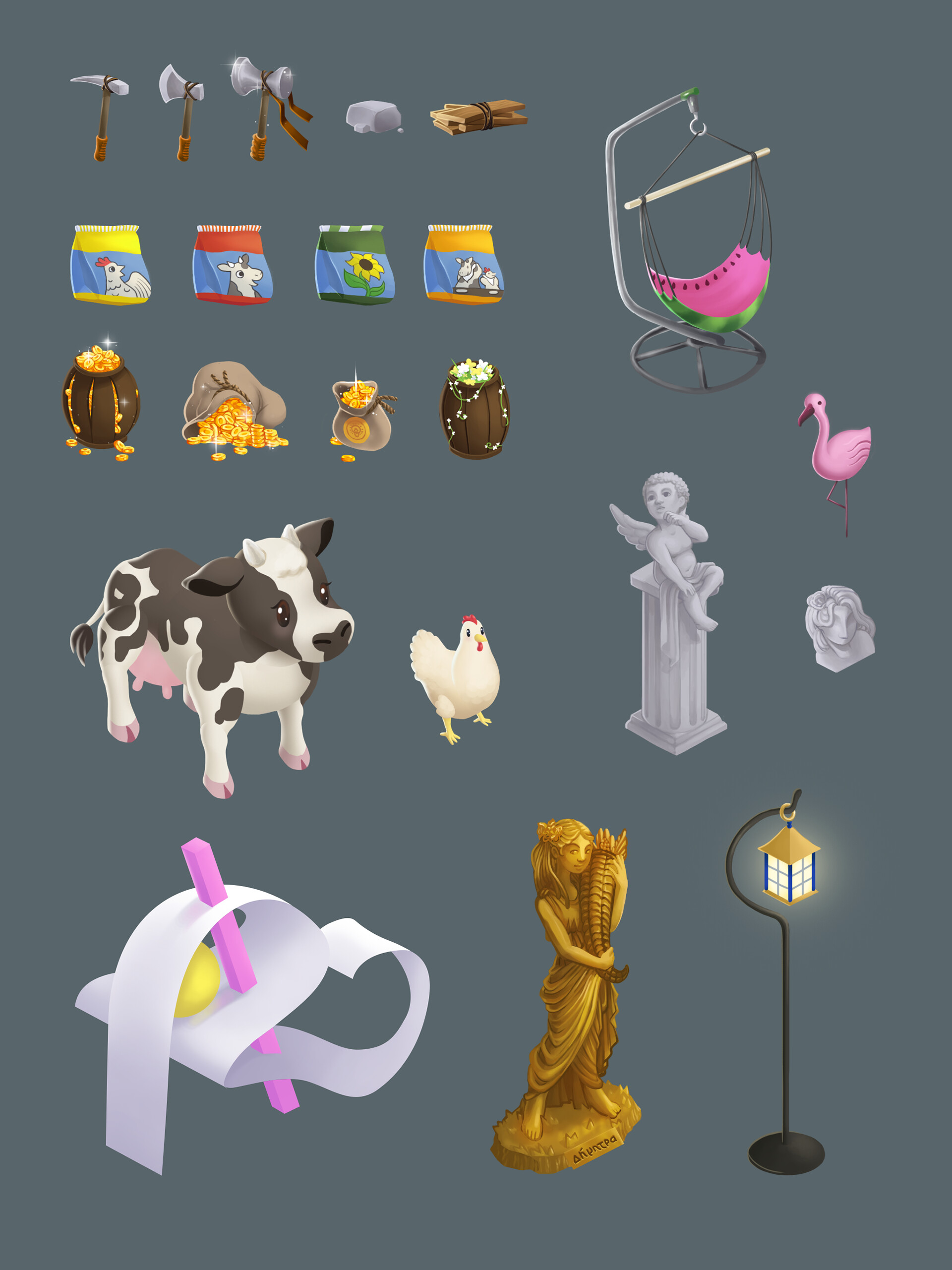 Tools, props, animals and decoration paintings