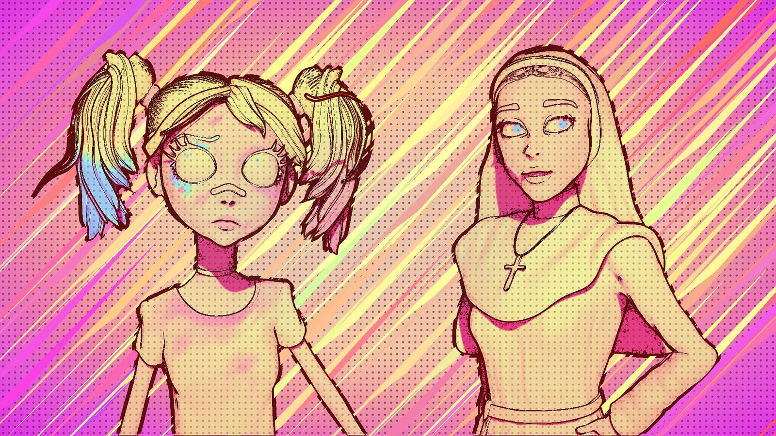 Baby Harley Quinn & Sister Irene (Comic Tones)