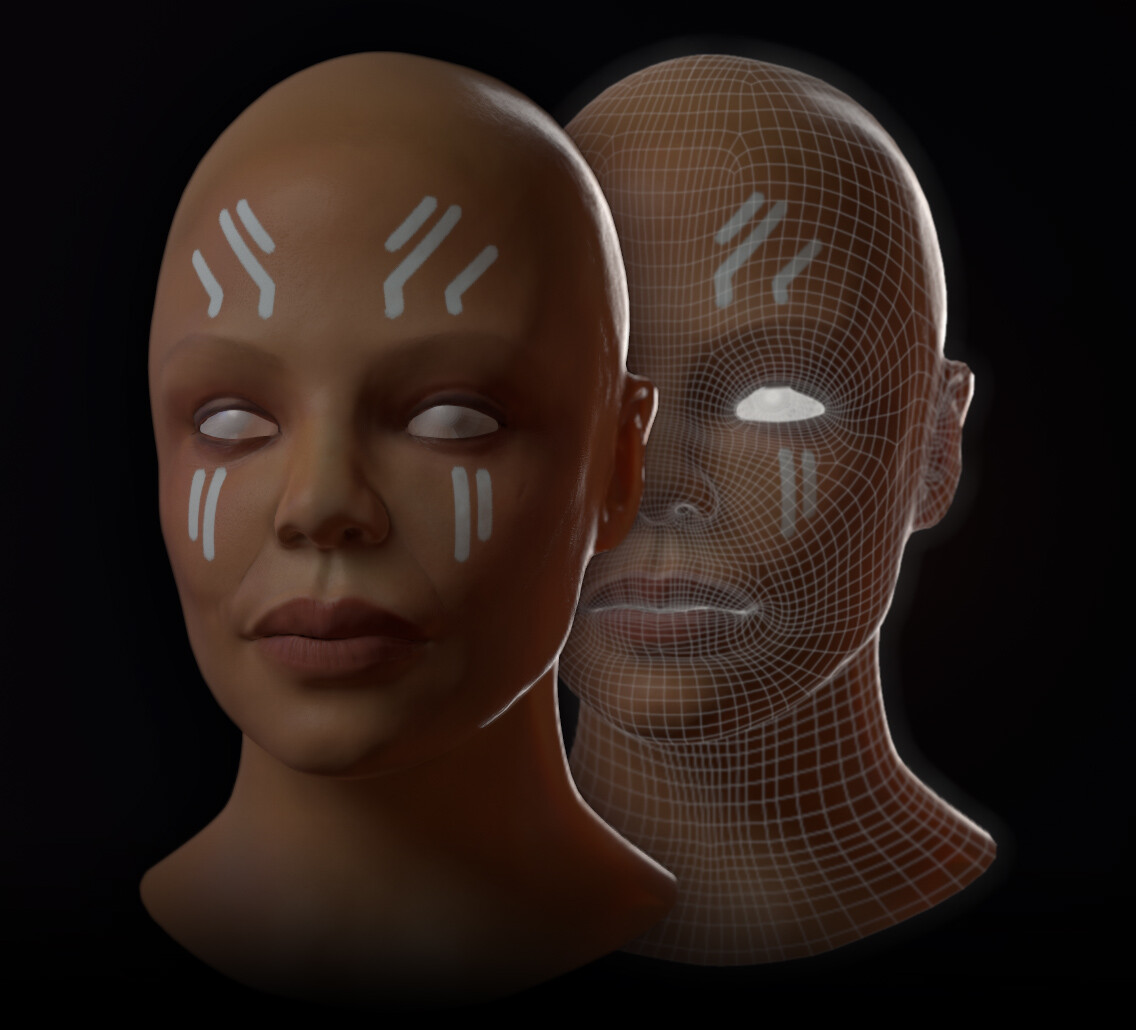 Low poly bust with maps applied in Marmoset