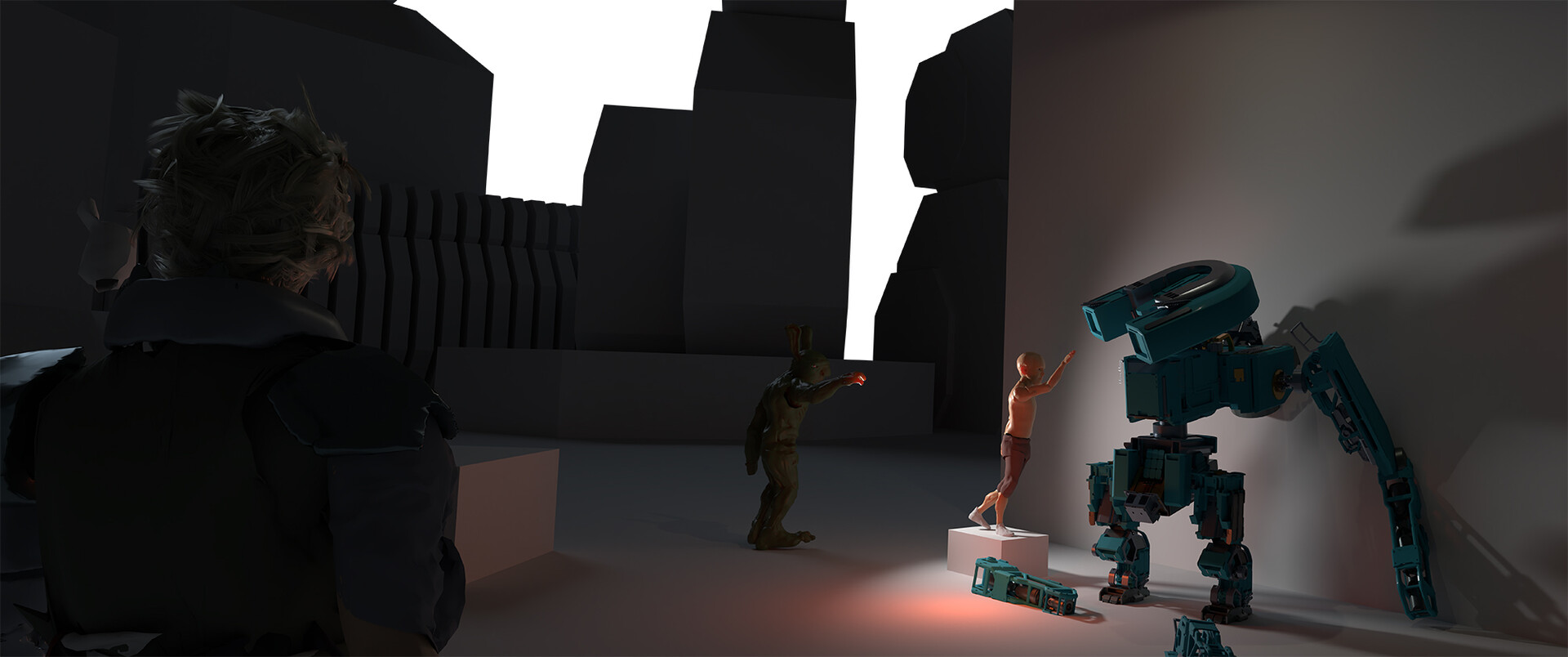The original blockout/composition. Re-arranged the characters to place more emphasis on the environment.