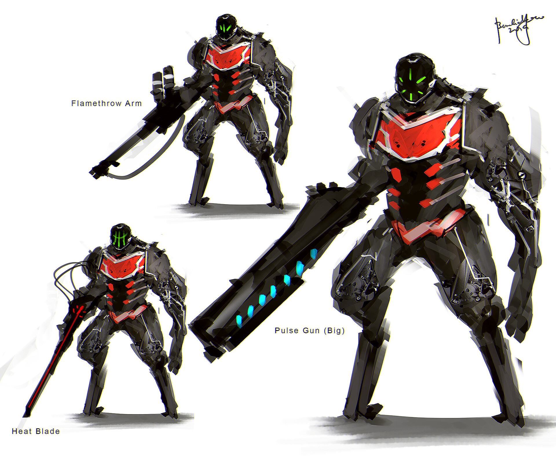 concept art. variation arm weaponry