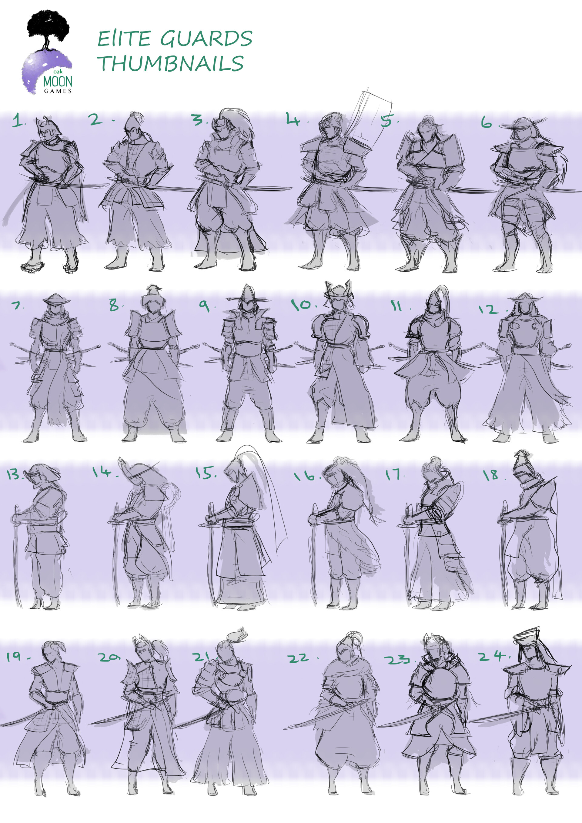 Thumbnail sketches for elite guards