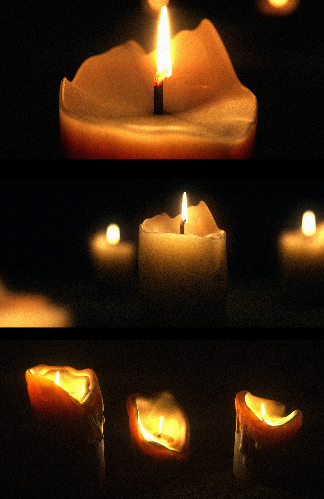 Modelled 4 differents candles for the scene