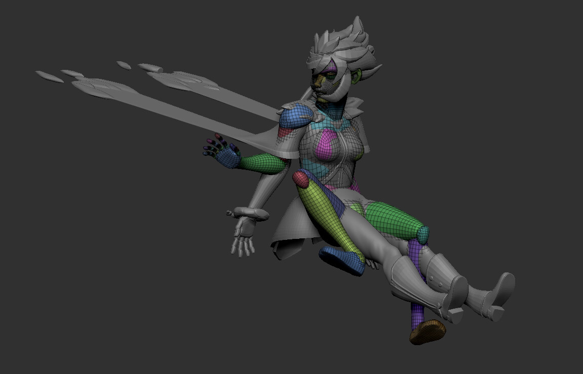 Began posing the sculpted parts to match the pose.