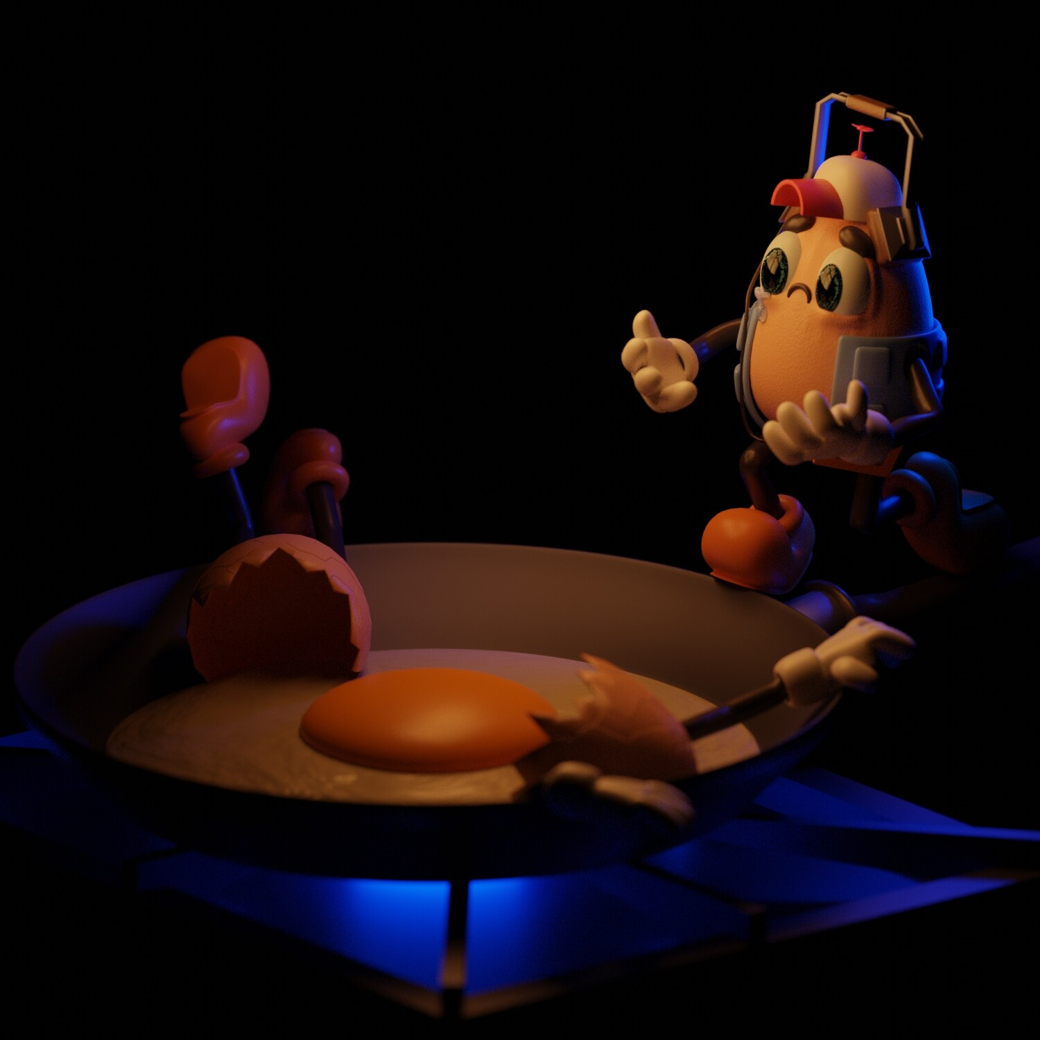 """(EN) """"It was an Eggcident 😨🥣"""" Had a lot of fun making this scene from the concept to the final render."""