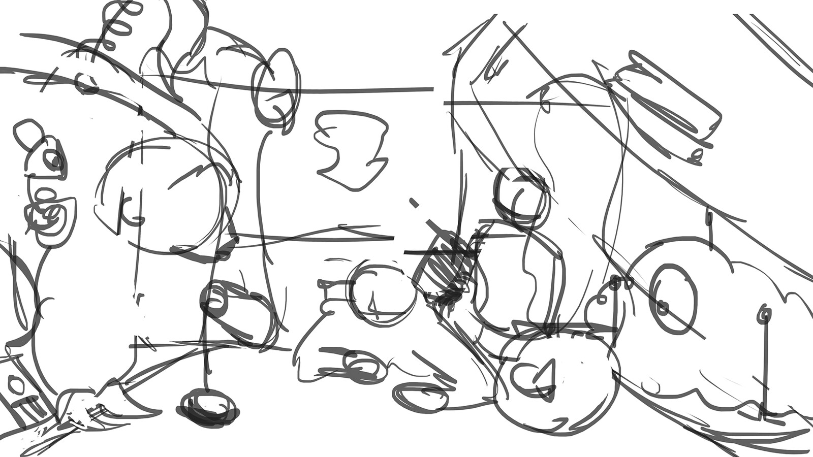 Step 1 of the process - A rough thumbnail, establishing general composition.