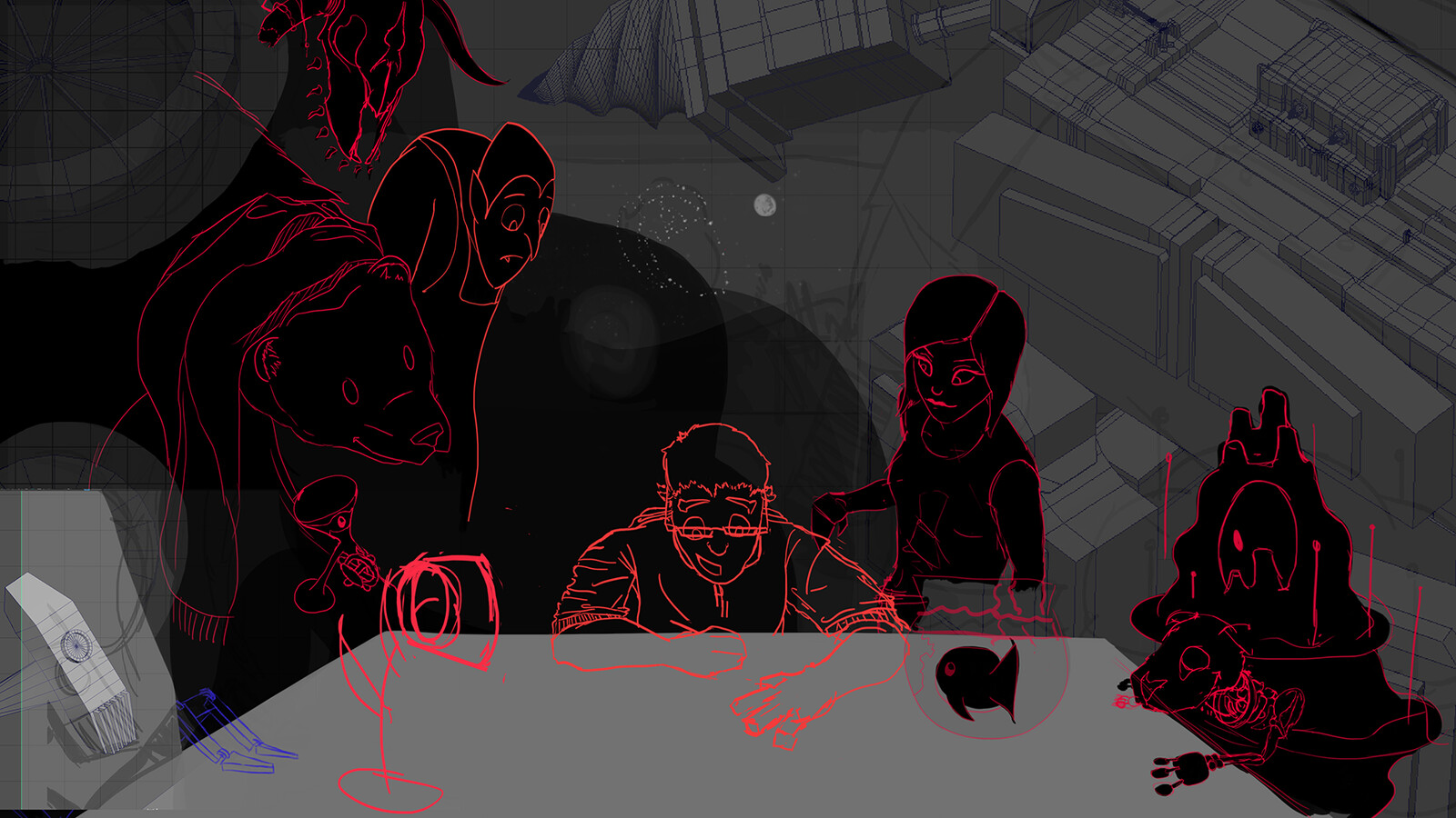 Step 3 - Solidifying silhouettes and details, as well as including 3D models as references for non-organic characters.