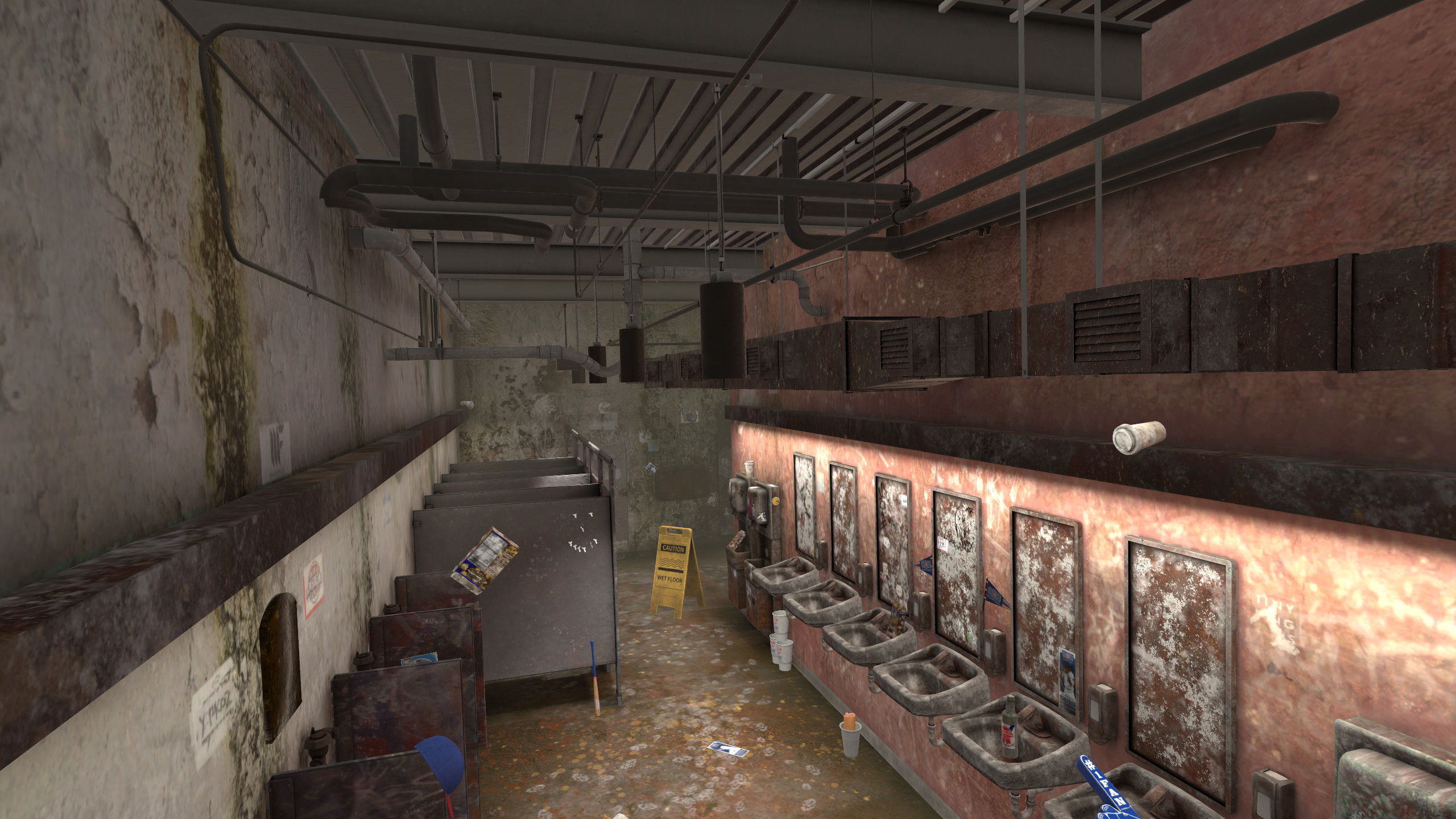 "Overview of the bathroom in ""dirty mode"""