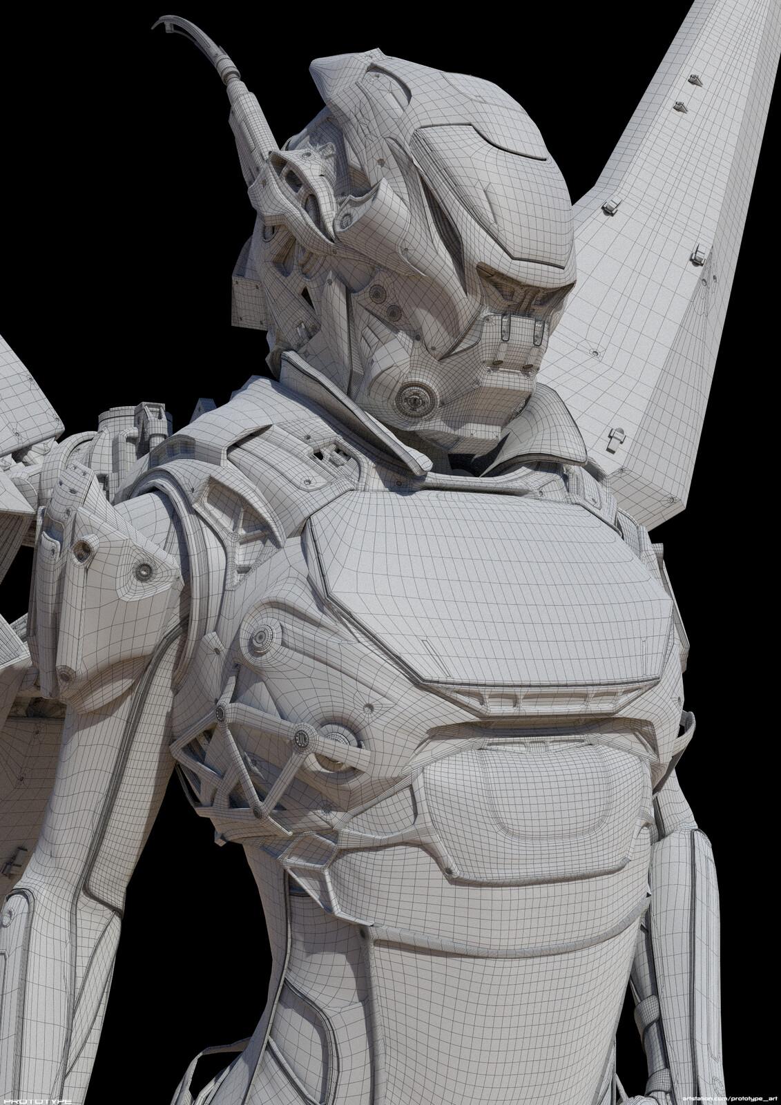 Wireframe render. Base model only