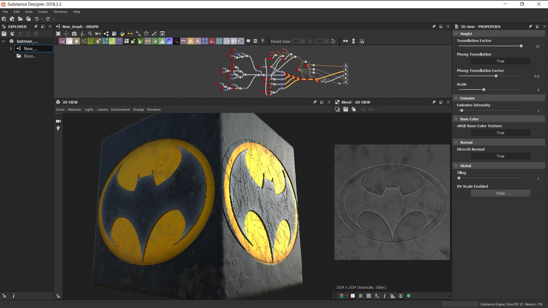 Artstation Batman Emblem Substance Designer Hector Suriel