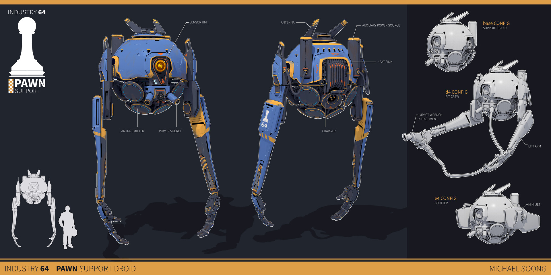 ArtStation - Industry 64: Pawn Support Droid, Michael Soong
