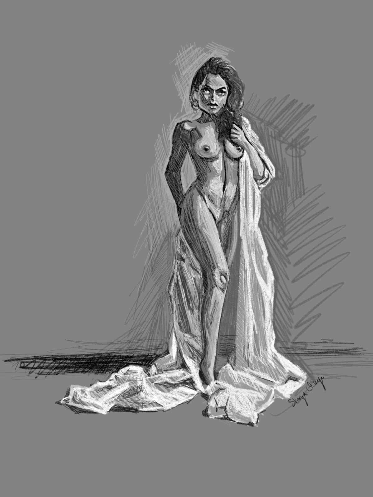 Woman in Fabric Study with TIMELAPSE video