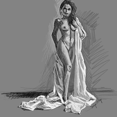 Skoya clayr woman with cloth study