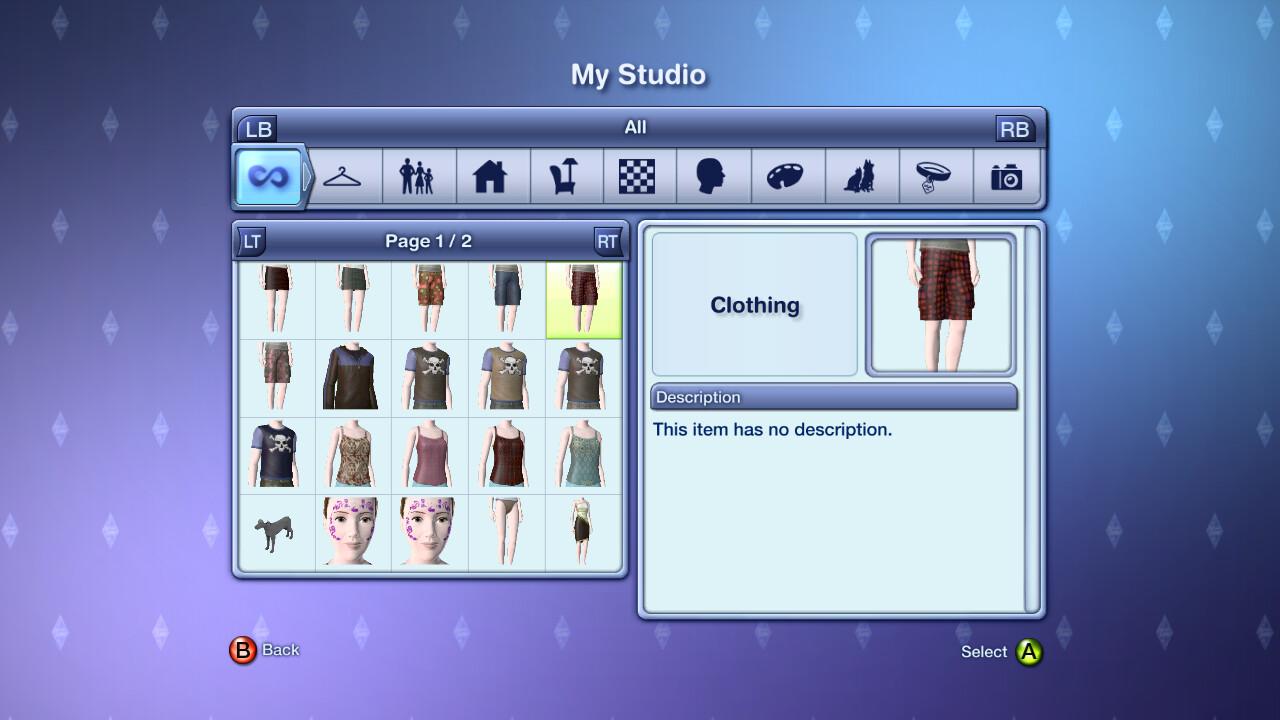 My Studio, the player's custom content creations.