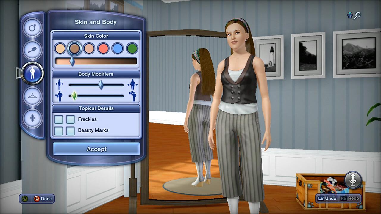 Create a Sim - skin settings