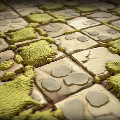 Carla tang stylized grass brick ground