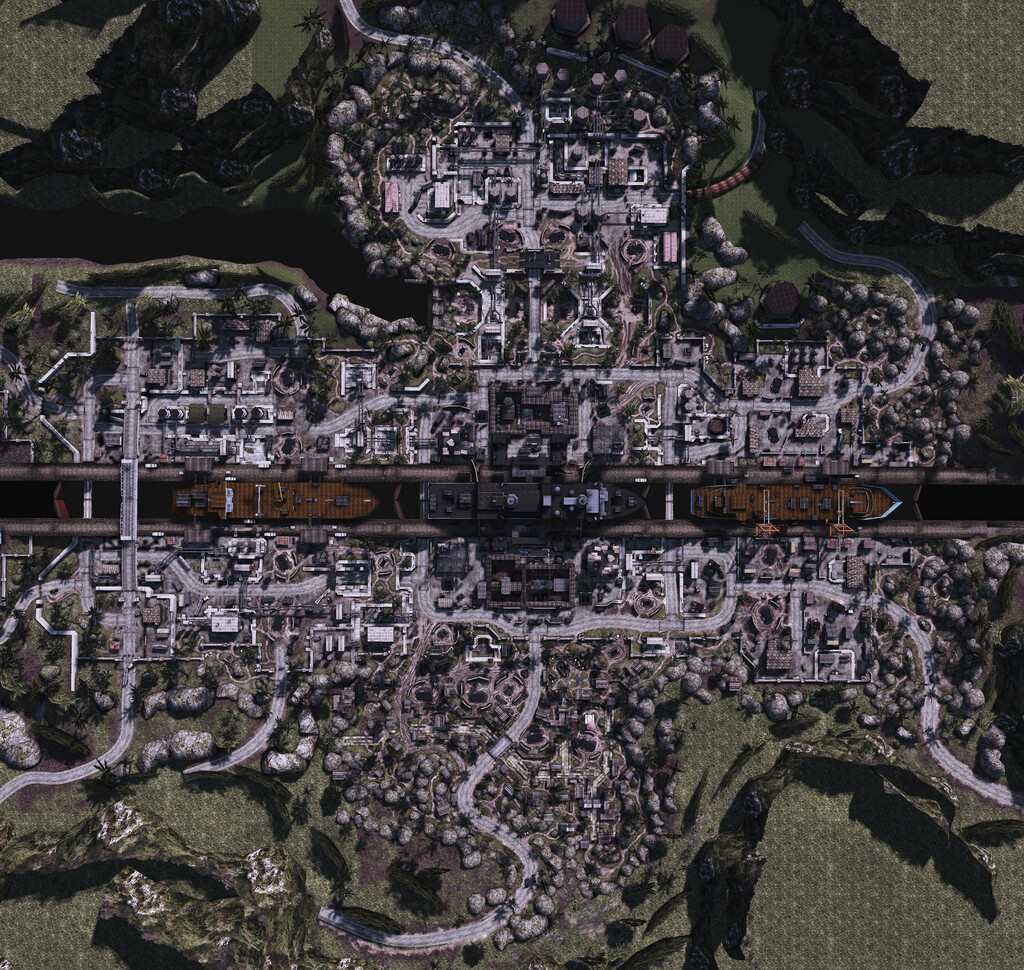M.A.G. Panama Canal level and layout. Was responsible for the lower half of this 256 player multiplayer map. Asset placement, routing, lighting, optimization, spawn locations, terrain painting and displacement, sight lines, streaming, and occluders.