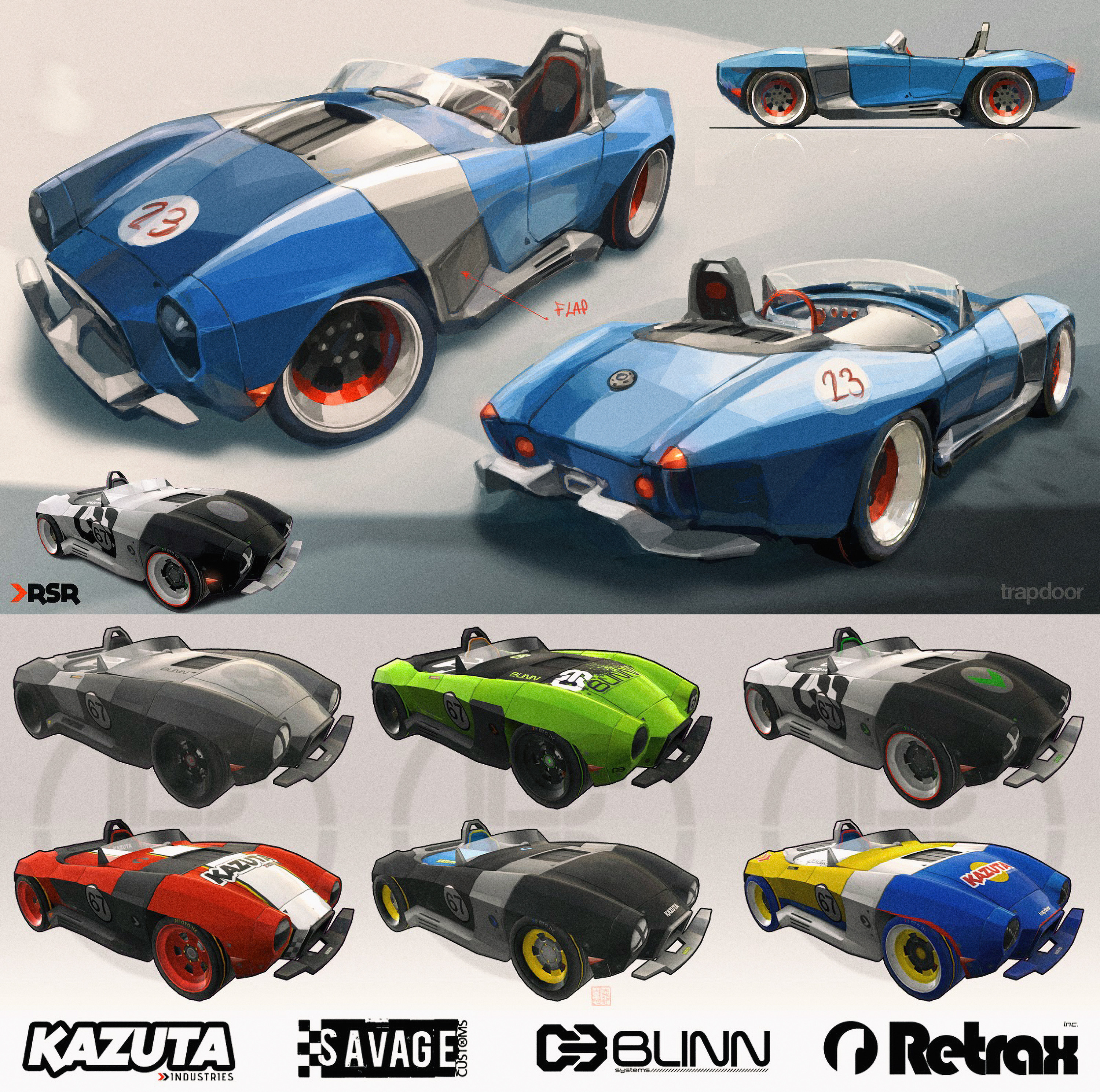 Main car directly inspired by the classic Cobra and some textures and logos I did for the models...
