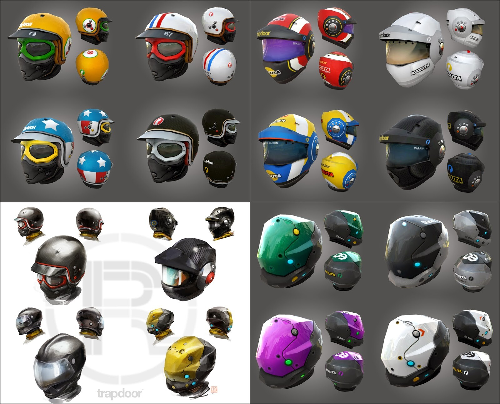 Concept art and textures I have done for some of the helmets...