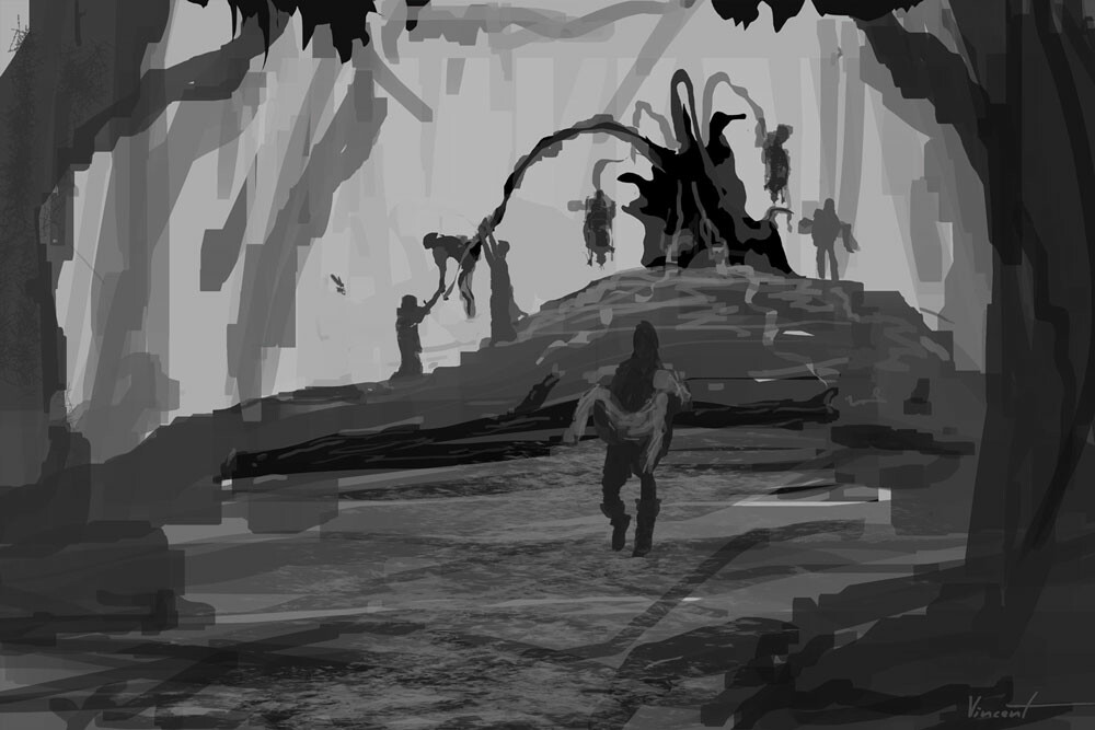 Thumbnail sketch used for final render