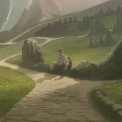 Road represents our life journey, it splits with every life choices and road itself is not straight, but devious. Middle of the art, there is dude sitting on stone with cat companion. Thinking/ meditating, because there is new choice in his life.