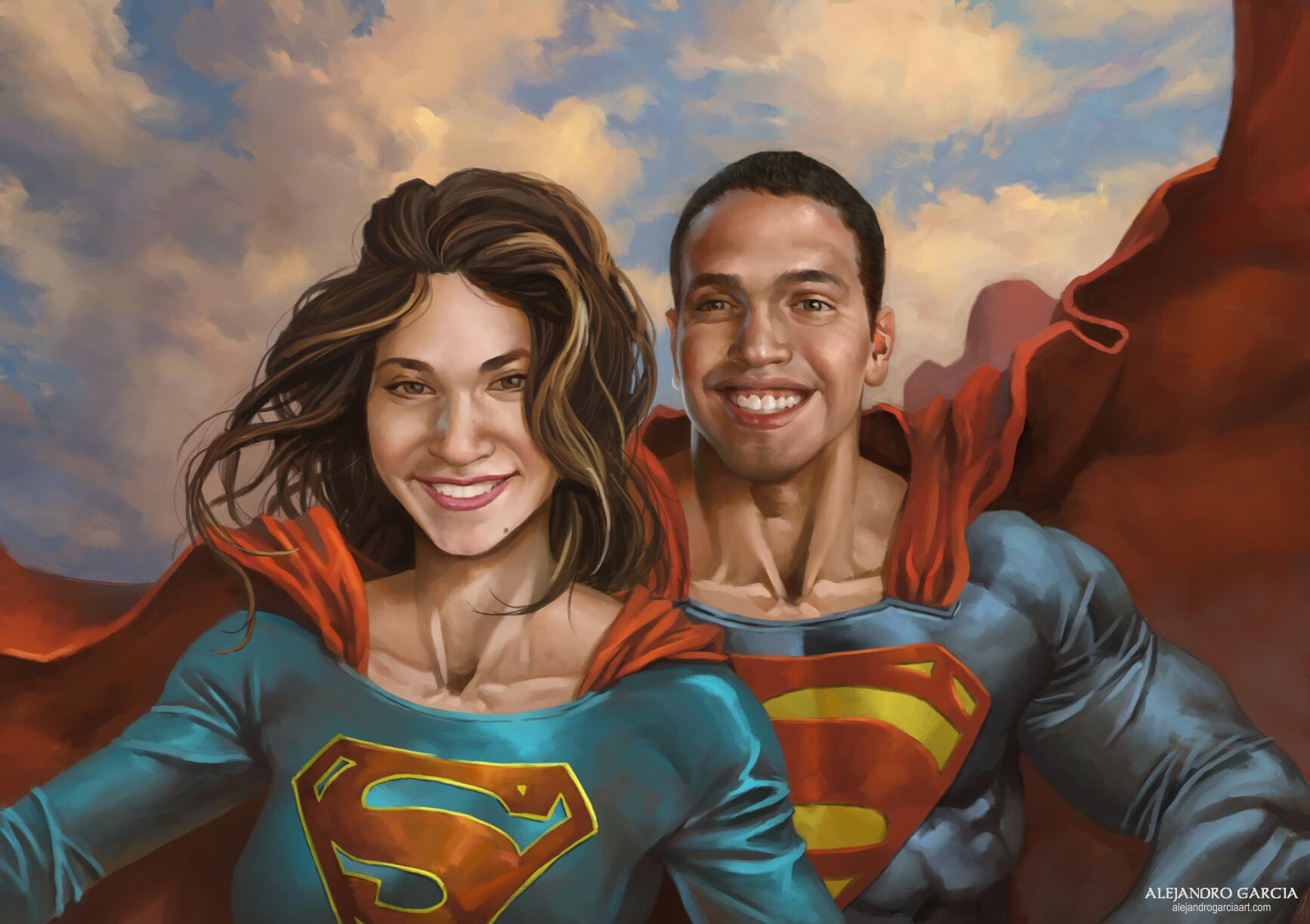Superman and Supergirl custom portrait