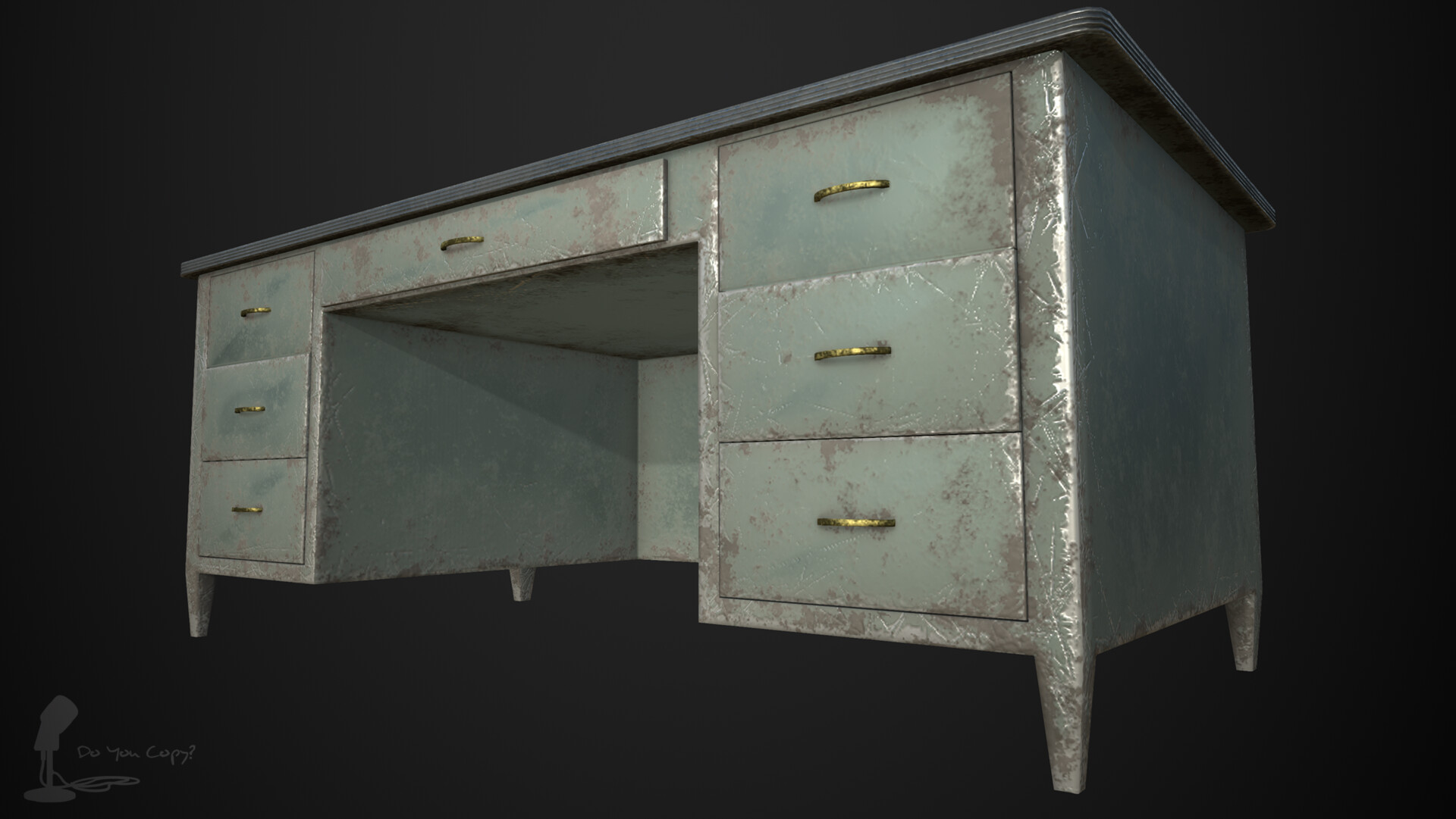 Heavy steel desk - Rendered in Iray