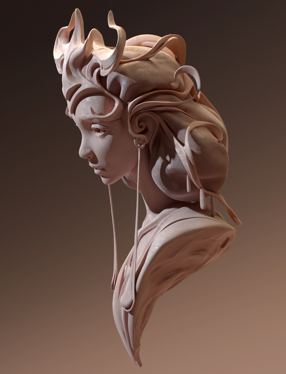 Fate of Sybil Bust I started and finished over my Zbrush live stream  Zbrush, Vray