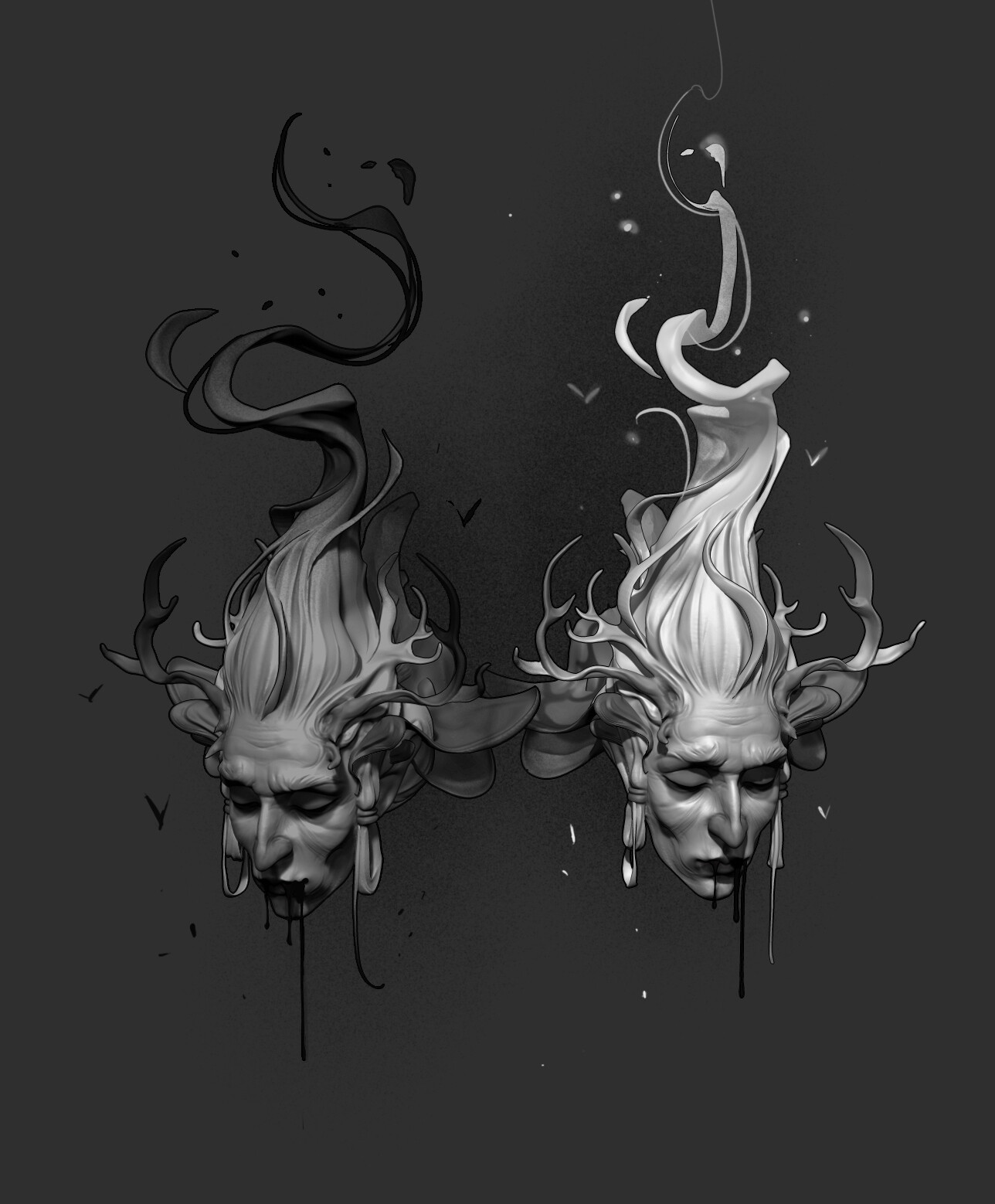 Great sacrifice of a Deer King  Lunch crunch sculpt Zbrush, PS for post prod