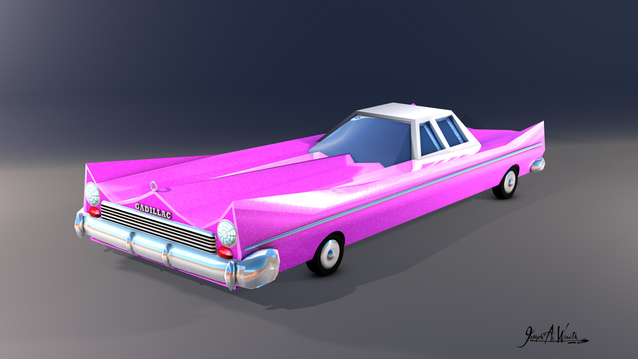 Pink Gadillac Cartoon Car