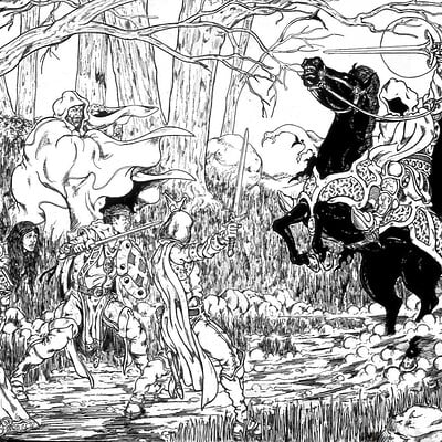 A Dark Rider Blocked their Path; circa 1984 Pen And Ink (Art Redux 002)