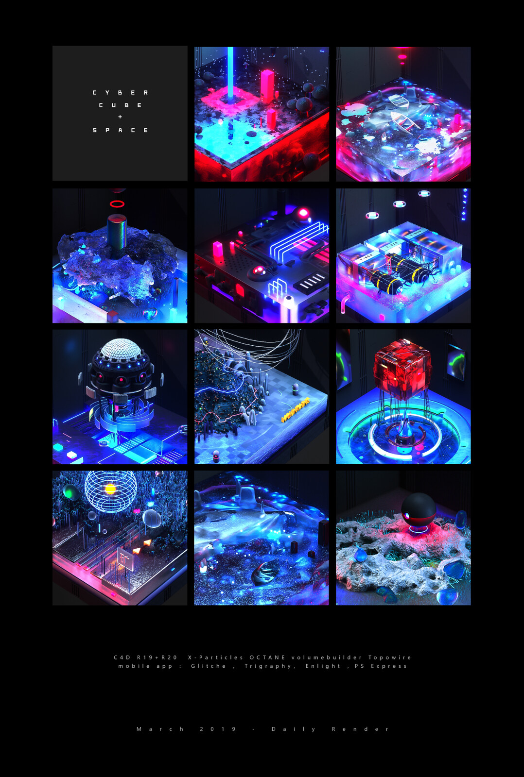 ArtStation - space cube | daily render, Tong X
