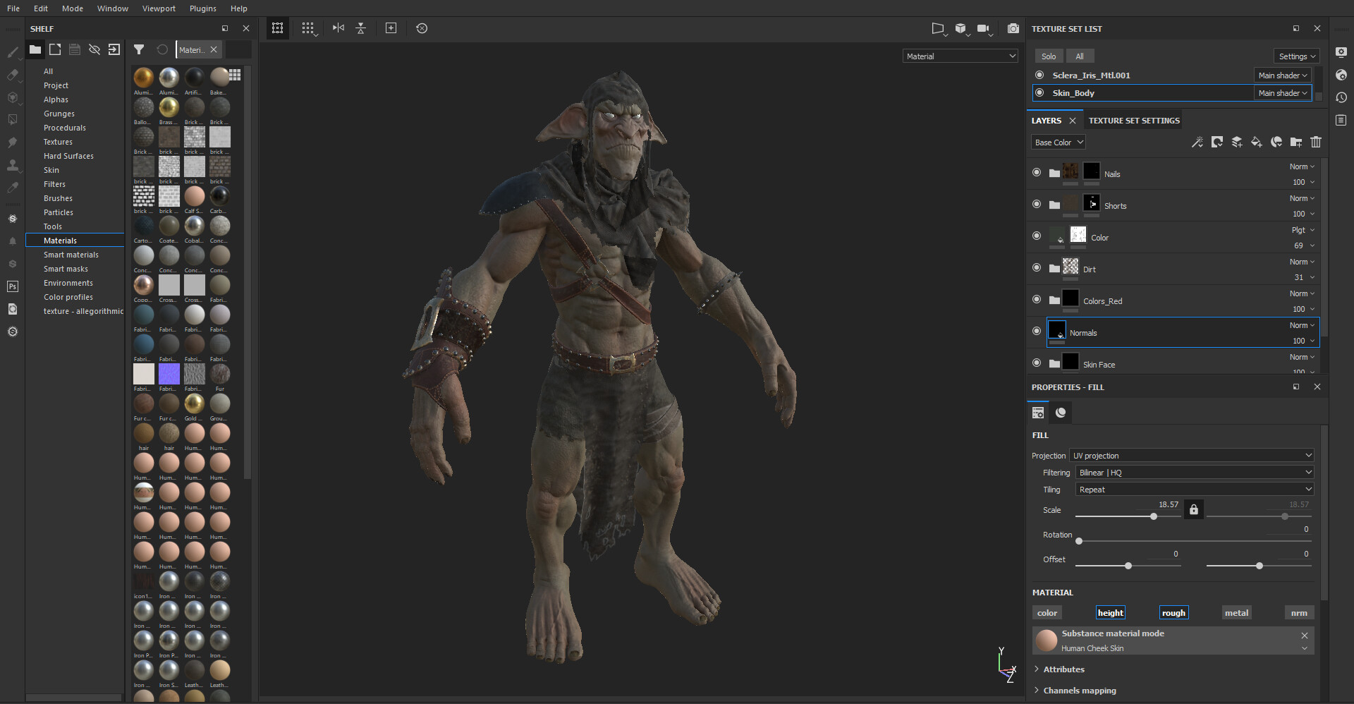 Texturing the character on Substance Painter