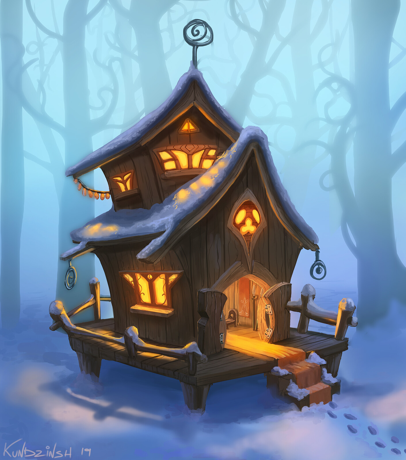 Stylized winter hut