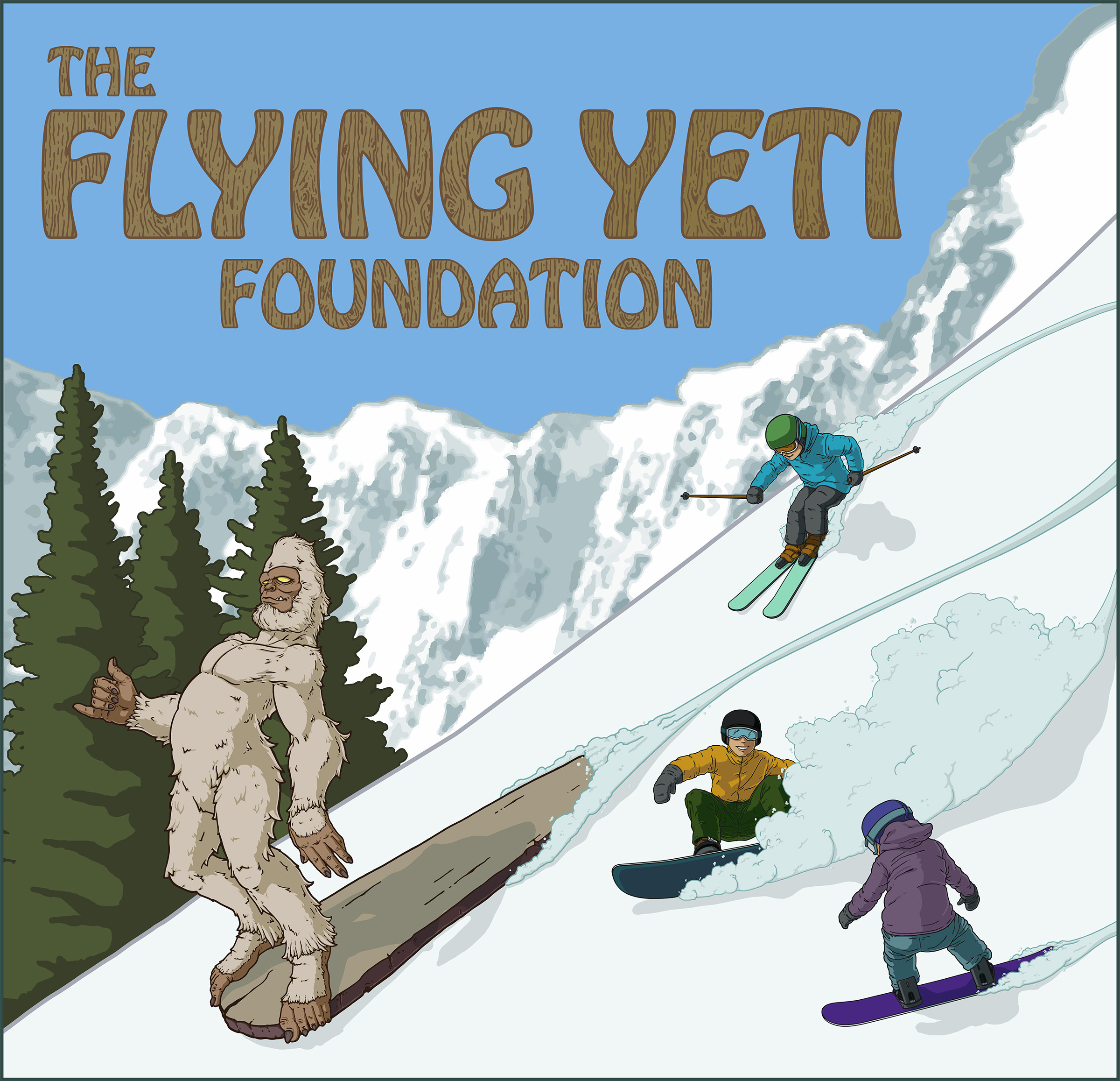 This was done for The Flying Yeti Foundation. Original drawing was done in Photoshop. Final image was done in Illustrator.